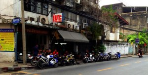 Across from my apartment in Thailand was a very cool motorcycle repair shop, but there weren't many cafes.